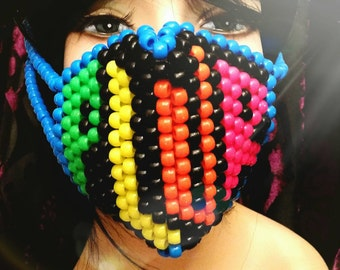 PLUR Kandi Mask, Neon Surgical Mask, Rave Mask, Black and Blue