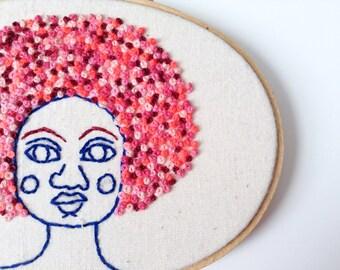 Bubblegum Afro, Embroidery Hoop Portrait French Knot Art Piece, Shades of Red Wine, Bubblegum, Mauve, Neon Pink, Strawberry Milkshake, Blue