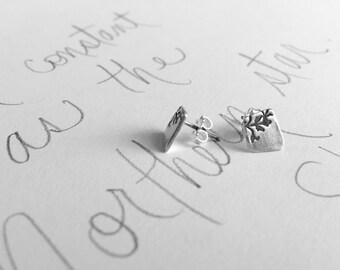 silver post earrings .  tiny silver stud earrings . recycled silver vine post earrings . simple silver earrings stud posts by peacesofindigo