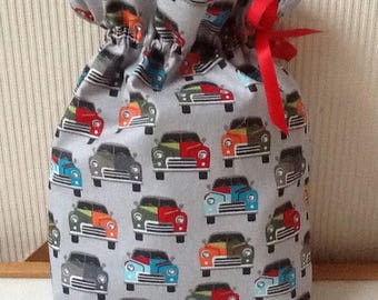 Small cars grey cotton pouch