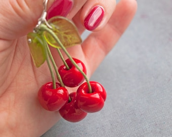 Earrings cherry Fruit earrings Cherry earrings Red Earrings Red cherry Earrings fruit Sweet cherry Gift Polymer clay Gift Fruit jewelry