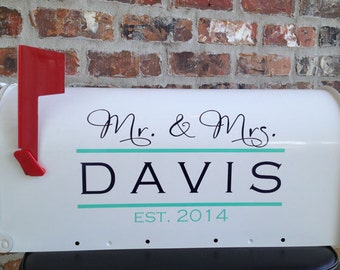 Mr. and Mrs. Wedding Card Mailbox Decal -DAVIS STYLE