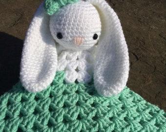 Crochet Bunny Lovey Blanket - Animal Blanket - Baby Lovey - Baby Shower Gift