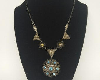 One Of a Kind Necklace, Made From Vintage Jewelry.