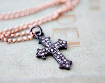 Cross Necklace, Diamond Cross, Diamond Necklace, April Birthstone, Diamond Cross Necklace, Cross Charm, Rose Gold Necklace, Cross Pendant
