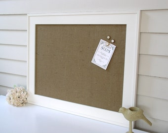 Burlap Bulletin Board Magnet Board Classic Burlap 22.5 x 28.5 inch Handmade Wood Frame Magnetic Memo Message Board with Button Magnets