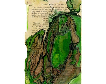 Watercolor art print, small green abstract art on book page, Colonization: Terrestrial Navigation 3