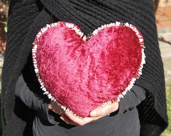 Handmade Heart Cushion - Red Heart Pillow