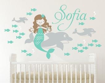 Dolphin Mermaid Name Wall Decal Ocean Baby Nursery Under the Sea Room