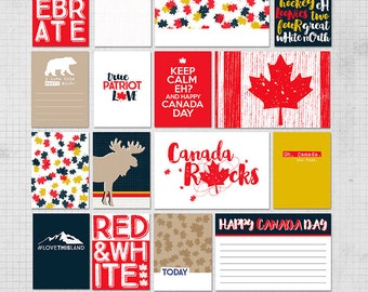 Canada D'Eh Digital Printable Pocket Scrapbooking Journal Cards for Project Life