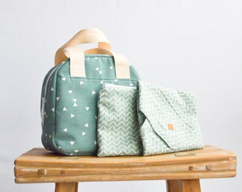 Lunch bag set Gifts for Mom Gift for her Gifts for women Mothers day gift Lunch box Lunch bag for women Canvas lunch bag Insulated Reusable