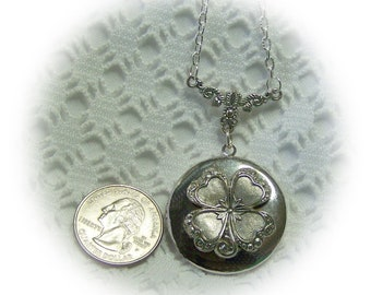 Irish Shamrock Locket - Four Leaf Clover Silver Lockets - St. Patrick's Day - Irish Heritage - Clover - Good Luck - Lucky Shamrock - Love