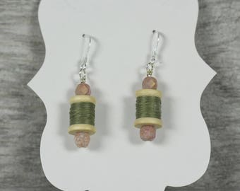 Thread Spool, Green, Pink Stone Beads, Sterling Silver Earrings. Gift for her/Gift for a quilter, crafter, or seamstress. Mother's day.