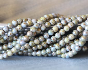 4mm, Opaque Green, Luster,  Round, Druk, Czech, Glass, Beads, Full Strand, 14 inches