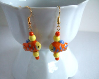 Orange & Yellow Earrings Cute Earrings Colorful Earrings Fish Earrings Cool Gift for Her Gift for Girlfriend Gift Best Friend Gift