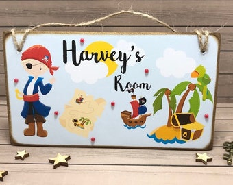 Personalised Pirate Room Sign, Nursery Decor, Children's Name Plaque, Pirate Door Plaque, Pirate Wall Sign, Boys Door Sign