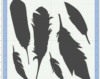 Feathers / 6 different original bird feathers Cutting file. SVG & Scut3 file formats included. Sizzix / Cricut / eCal / Sure-Cuts-a-Lot