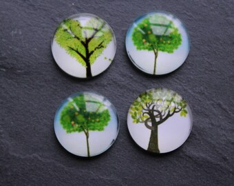 """Set of 4 cabochons 18 mm """"Tree of life"""" green"""