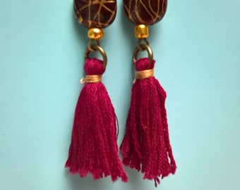 Burgundy Red Pearl and Burgundy tassel earring