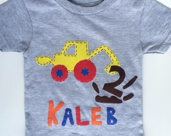 construction front loader birthday shirt with name