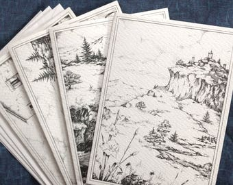 Printed card set (4 cards plus 4 envelopes) from original pen and ink art - Castle, Waterfall, Beach, French cottage