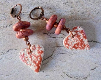 Pinkish Copper and White Distressed Heart Earrings (4216)