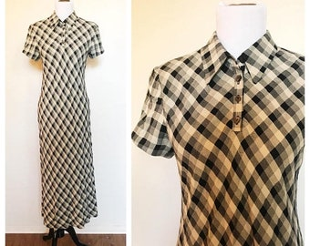 SHOP SALE Vintage 90s Gingham Collared Maxi Dress