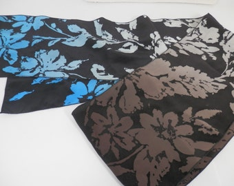 Handpainted silk oblong hombre scarf in rich brown, gradients of blues and taupes.