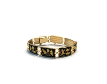 Vintage IA Damascene Bracelet, Gold Damascene Link Bracelet, Costume Jewelry
