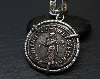 big ancient Roman coin pendant mens, ancient coin necklace, mens rustic pendant, authentic Roman Empire coin pendant, antique coin necklace