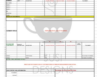 Technical Specification Sheet Templates for Fashion Design - Basic Tops