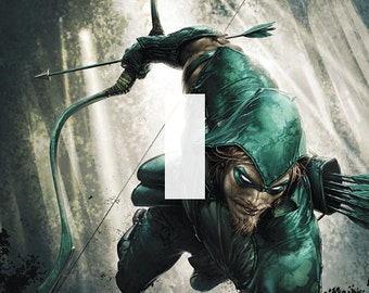 Green Arrow Single Light Switch Plate Cover