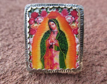 Our Lady of Guadalupe #1 Cocktail Ring Sterling Silver and Shrinky Dink Shrink Plastic Catholic Religious Kitsch Jewelry