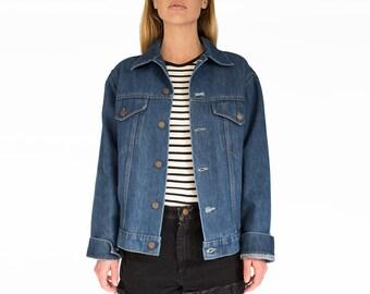 70s Vintage Medium Trucker Denim Jacket, 70s Denim Jacket, Mens Blue Jean Jacket, Medium Denim Jacket, Worn Trucker Jacket, Trucker Jacket