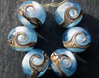 Lampwork Rounds (6) Blue Ocean Wave