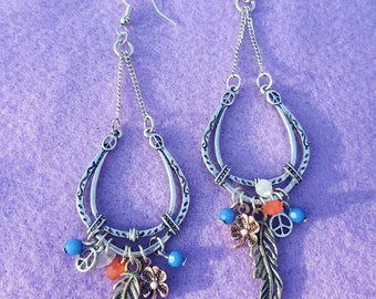 Horseshoe and Feather Earrings