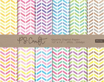 Two Color Watercolor Chevron Digital Papers, Watercolor Zigzag Background, Chevron Wallpaper,  Two Colors Zigzag Pattern