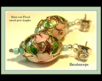Burnout floral...metal beads, post dangles