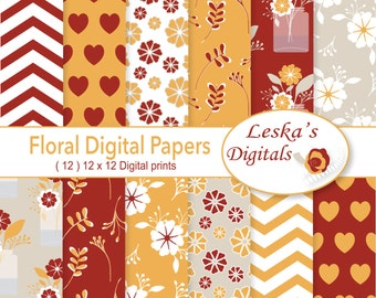 """Digital Paper: """"Floral Patterns"""" Floral wedding, romantic floral papers for invites, cards and scrapbooking, autumn florals, romantic autumn"""