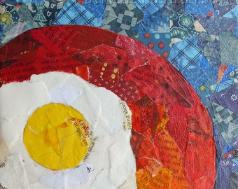 """SUNNY SIDE UP Original Collage Egg Painting 6"""" X 6"""""""