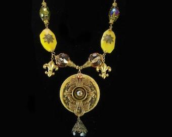Bohemian necklace Crystal fleur de lis Gothic chandelier OOAK DRAMATIC Medallion