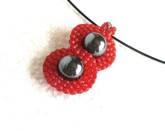 Beaded Infinity Necklace, Eternity Symbol Jewelry, Red Minimalist Necklace, Figure 8 Jewelry, Red Seed Bead & Hematite Pendant -Etsy Germany