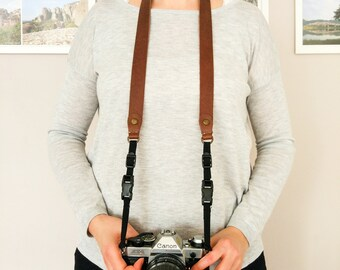 Brown Genuine Leather Camera Neck & Shoulder Strap with Quick Release Feature - Free Gift Wrap