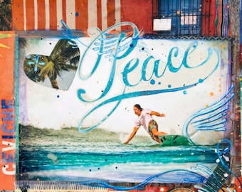 GLASSED, PEACE, DONAVON Frankenreiter, 4x4 and Up, Hand Painted, re-collaged, wood panel, Surf, Surf Art, travel, resin art