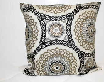 Decorative Richloom Medallion Fabric Lt Brown, Black, and Gray Decorative Throw Pillow Cover