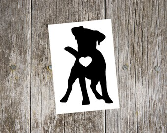 Jack Russell Terrier v1 with heart cutout vinyl decal, jack russell sticker, jack russell lover, dog lover gift, jack russell lover gift