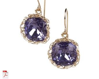 Jewelry pattern earrings , EVE vintage dangle earrings tutorial , how to crochet wire cabochon , dangle swarovski earrings in PDF