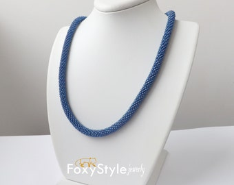 blue beaded necklace royal blue necklace mothers day gift idea wife navy necklace blue rope necklace women blue necklace thin blue necklace