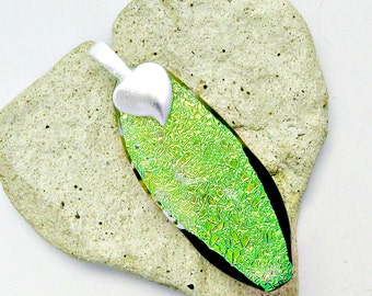 Green Dichroic Burst of Color Fused Glass Pendant