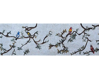 Birds on Tree Branches Mosaic Mural